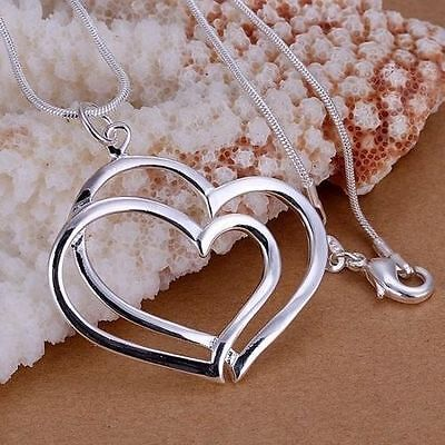 Women Fashion 925 Sterling Silver Plated Snake Chain 2 Heart Pendant Necklace