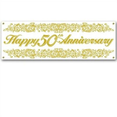 Happy 50th Anniversary Sign Banner Gold Anniversary Party Supplies Decoration
