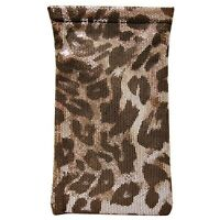 Leopard Print sunglass pouch with Charge cords