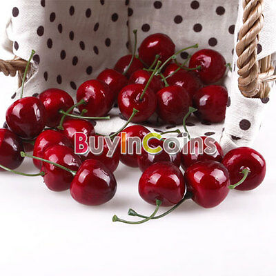 30 x Lifelike Fake Faux Cherry Artificial Fruit Model House Kitchen ca#21