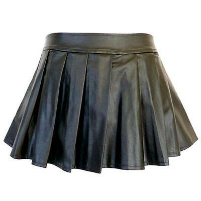 5209-13 - 1X 2X 3X 4X Plus Size Faux Leather Pleated Sexy Mini Skirt Black