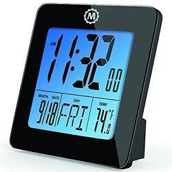 MARATHON CL030050BK Digital Desktop Clock with Day, Date, Temperature, Alarm and