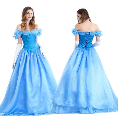 US Adult Princess Cinderella Aurora Costume Deluxed Stage Fancy Cosplay Dress