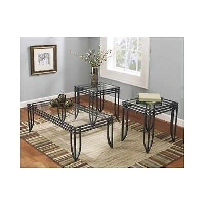 Glass Coffee Table Set  3 pc End Tables Metal Glass Modern Furniture Accent New ()