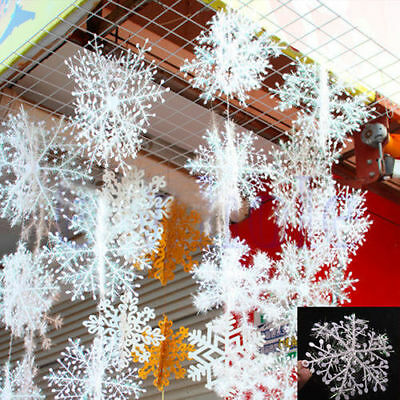 30Pcs Classic White Snowflake Ornaments Christmas Holiday Party Home Decor - Snowflake Decor