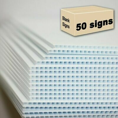 50 Blank Signs White 18 X 24 X 4 Mm Corrugated Plastic Bundles Of 50 Pieces