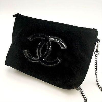 New Chanel Black Chain Cosmetic Cross Bag VIP Gift USA Seller
