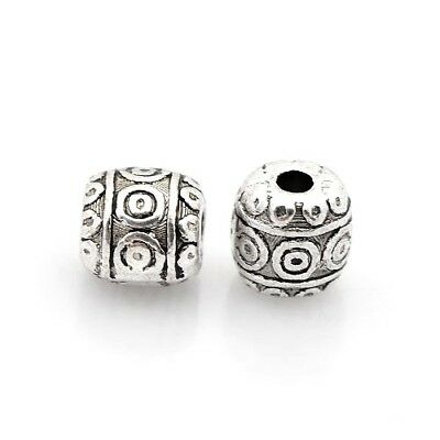 Packet 30 x Antique Silver Tibetan 6mm Barrel Spacer Beads HA17330