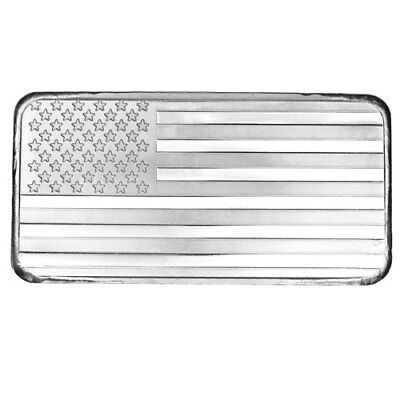 ON SALE! 10 oz SilverTowne American Flag Silver Bar (New)