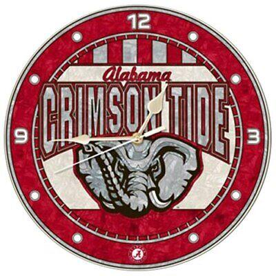 Alabama Crimson Tide 12'' Art-Glass Wall Clock Alabama Art Glass