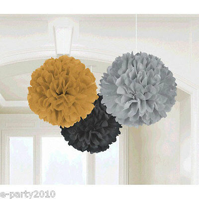 BLACK GRAY AND GOLD LARGE FLUFFY POM POM HANGING DECORATIONS (3) ~ Party Supply