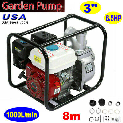 3 Inch 6.5hp 8m Gas Water Semi Trash Pump Petrol High Pressure Garden Irrigation