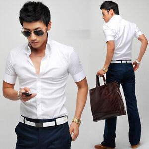 Korean mens button down short sleeve fitted formal dress for White short sleeve button down shirts for men