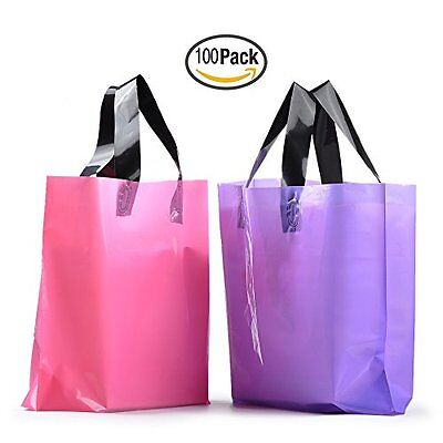 YOUKEE 100PCS Frosted Plastic Gift Bags Shopping Bags with H