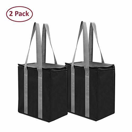 Insulated Reusable Grocery Bag Shopping Tote  Thermal Cooler Zipper Closure (2)