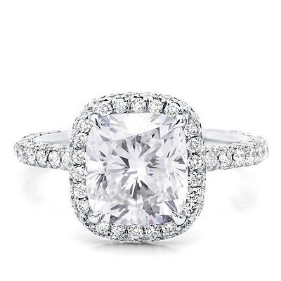 Natural Halo Pave 2.25 Ct Round Brilliant Cut Diamond Engagement Ring H, VVS GIA