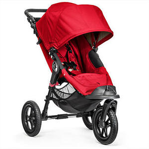 Red Baby Jogger City Elite with Britax Adaptor and Tray