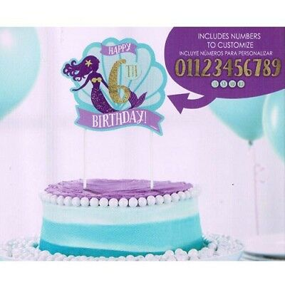 Mermaid Birthday Supplies (MERMAID WISHES CUSTOMIZABLE CAKE DECORATION ~ Birthday Party Supplies Ocean)