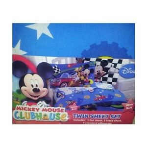 Boys Bedding Disney Mickey Mouse Clubhouse 3 Piece Twin Sheet Set Youth Bed Twn