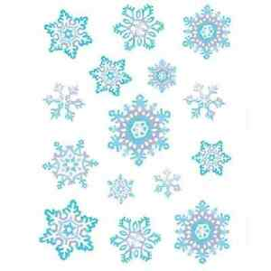 Crystal-Snowflake-Clings-12-x-17-Sh-LOT-OF-15-STICKERS-CHRISTMAS-B22132