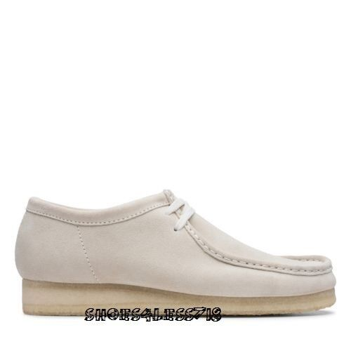 NEW 2019 MENS CLARKS ORIGINALS WALLABEE LOW LIMITED EDITION OFF WHITE SUEDE SHOE