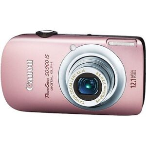 Canon PowerShot SD960IS 12.1 MP Digital Camera (pink) & charger