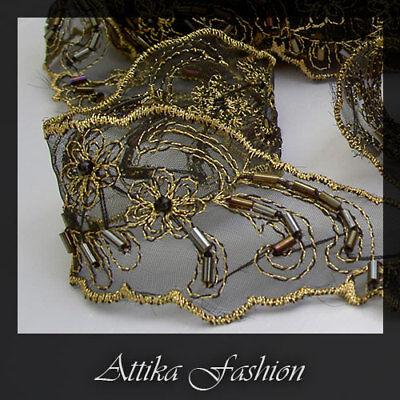 Design Gold Trim (Royal Gold --- Vintage Design Beaded Embroidered Trim *Per yard*)