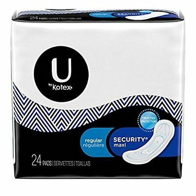 U by Kotex Security Maxi Feminine Pads Regular 10Hr Protection 24 Ct (12 Pack)