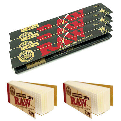 Roll Of Black Paper (Lot of 3 x RAW Black Rolling Papers Classic King Size Slim + 2 x RAW Wide)