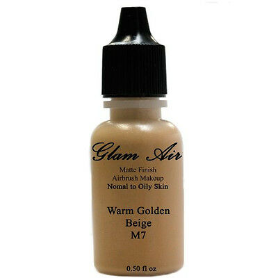 Large Bottle Airbrush Makeup Foundation Matte Finish M7 Warm Golden Beige Water- Face