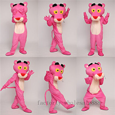 Cosplay Pink Panther Mascot Costume Suits Birthday Fancy Dress Outfits Halloween (Panther Mascot)