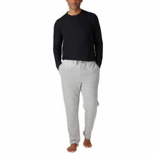 Eddie Bauer Men Black Thermal Top & Grey Fleece Bottom Pajama Sleepwear Xxl Used