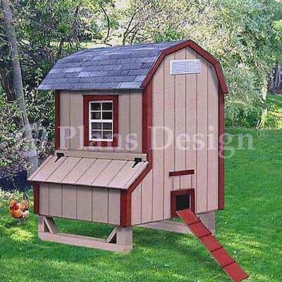 5 X 4 Gambrel Barn Chicken Poultry Coop Plans 90504b Free Chicken Run