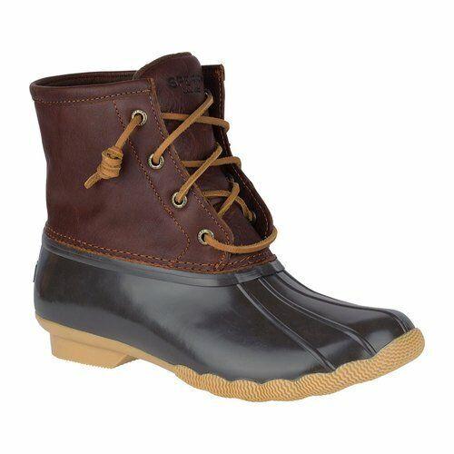 Sperry Top-Sider Women's Saltwater Rain Boot, Tan/Dark Brown