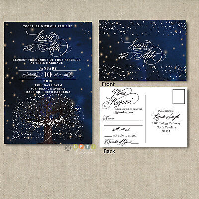 Wedding Invitation Sets (Wedding Invitation Set Suite | Starry Night and Snowflake With RSVP Post Card )