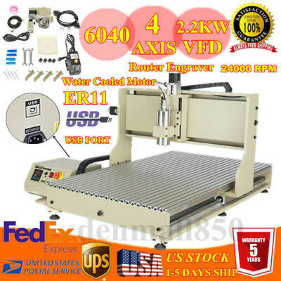 Usb 4 Axis Cnc 6090 Router Engraver Engraving Carving Milling Machine 110v 2.2kw