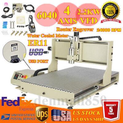 Usb 4 Axis Desktop Engraver Milling Engraving Machine Cnc 6090z Router 2.2kw New