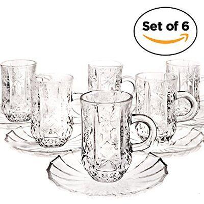 Set of 6 Cup and Saucer, Espresso Coffee Mug, Tea, Turkish & Arabic Coffee