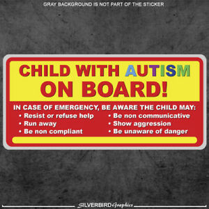 Child with Autism on board - sticker decal autistic awareness vehicle bumper car