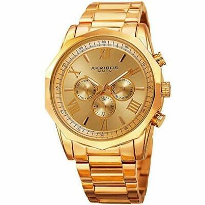 Men's Akribos XXIV AK940YG Two Time Zone Gold Dodecagonal Steel Bracelet Watch