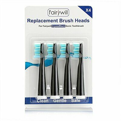 Fairywill 507 Black Electric Toothbrush Brush Head x 4 with
