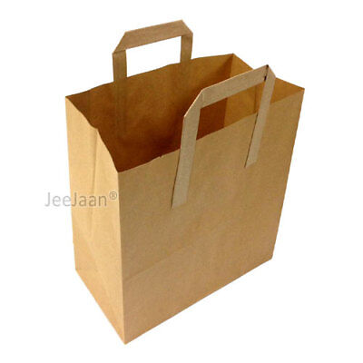 100 LARGE BROWN PAPER CARRIER BAGS SOS KRAFT TAKEAWAY FOOD LUNCH WITH HANDLES