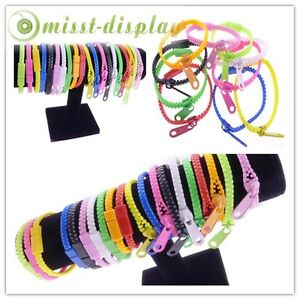 Wholesale 20Pcs Mix Colours  Zipper Zip Link Unisex Fashion Bracelet Bangles