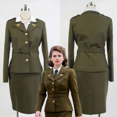 Carter Uniform - Avengers Captain America Agent Peggy Carter Uniform Olive Green Cosplay #K5