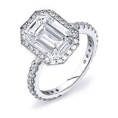 2.15 Ct Emerald Cut w/ Round Cut Pave Diamond Engagement Ring GIA G,VS2 14K WG