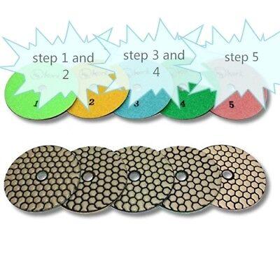 4 Dry Diamond Polishing Pad 5 Step X 36 Sets 180 Piece Stone Concrete Granite