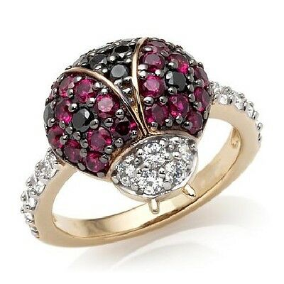 Ladybug White Ring (SIMULATED RUBY DIAMOND LADYBUG 18K WHITE GOLD OVER STERLING SILVER RING NATURE)