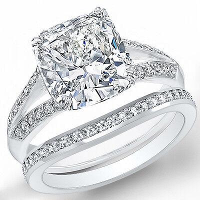 2.10 Ct Cushion Cut Diamond Split Shank Pave Engagement Ring Set  I,IF GIA 14K