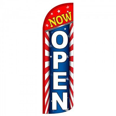 Now Open Swooper Flag Only Windless 3 Wide Sign Banner Stars And Stripes