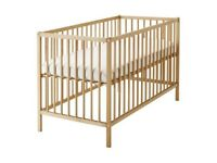 Beech wood baby cot with mattress
